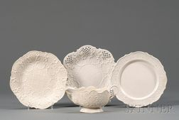 Four Staffordshire White Saltglazed Stoneware Items