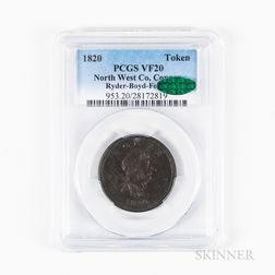 1820 North West Co. Copper Token, PCGS VF20, CAC