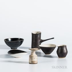 Five Pieces of Lucie Rie (Austrian/British, 1902-1995) Tableware and a Vase