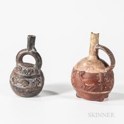 Two Pre-Columbian Pottery Stirrup Vessels