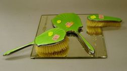 Three-Piece Art Deco Enameled Silver Plated Vanity Set and Mirror Tableau