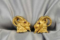 18kt Gold Ram's Head Cuff Links, Kurt Wayne