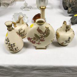 Five Royal Worcester Floral-decorated Porcelain Vessels