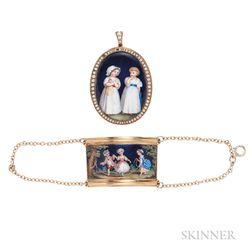 Two Gold Enamel Jewelry Items