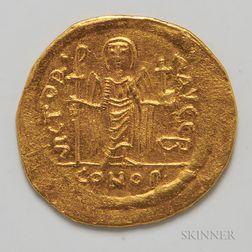 Byzantine Maurice Tiberius AV Solidus.     Estimate $300-500