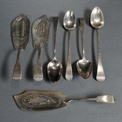 Seven Pieces of Georgian Sterling Silver Flatware