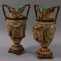 Pair of William Schiller & Sons Figural Majolica Vases