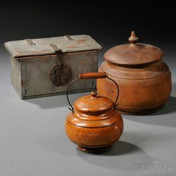 Wrought Iron Mounted Blue-painted Box and Two Covered Treen Containers