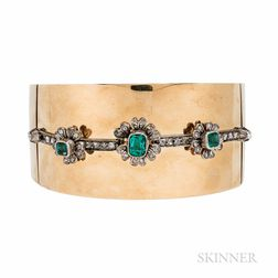 Gold, Emerald, and Diamond Bracelet