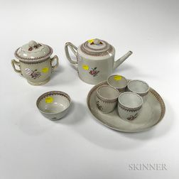 Twenty-six Pieces of Floral-decorated Lowestoft Porcelain Teaware
