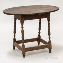 Early Turned Maple and Pine Oval-top Tavern Table
