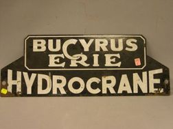 Bucyrus Erie Hydrocrane Enameled Metal Sign.