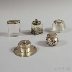 Five Sterling Silver-mounted Glass Items
