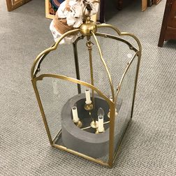 Brass and Glass Four-light Hanging Lantern
