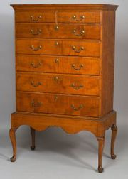 Queen Anne Maple Chest-on-Frame