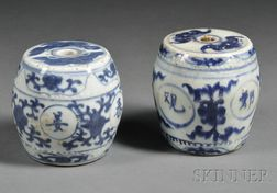 Two Blue and White Brush Weights