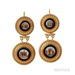 Gold and Micromosaic Earrings