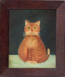 American School, 19th Century    Portrait of a Yellow Cat.