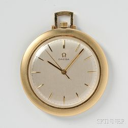 14kt Gold Open Face Pocket Watch, Omega