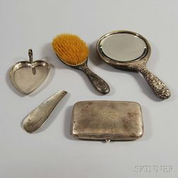 Five Sterling Silver-mounted Dresser and Vanity Items