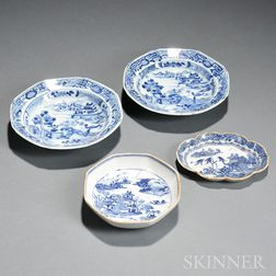 Four Export Blue and White Porcelain Items