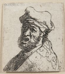 Rembrandt van Rijn (Dutch, 1606-1669)      Man Crying Out, Three-Quarters Left: Bust