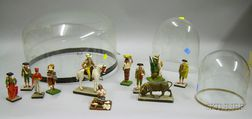 Collection of Mexican Wax and Cloth Cultural Figures under a Glass Dome