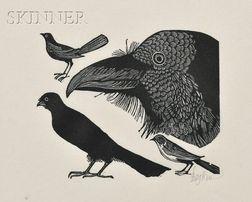 Leonard Baskin (American, 1922-2000)      Lot of Four Animal Subjects: Crows