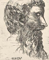 Leonard Baskin (American, 1922-2000)      Lot of Two Portraits:  William Morris