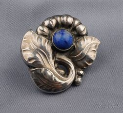 Sterling Silver and Lapis Brooch, Georg Jensen