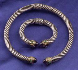 Sterling Silver, 14kt Gold and Gem-set Collar and Bracelet, David Yurman