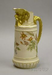 Royal Worcester Gilt and Hand-painted Porcelain Ewer with Grotesque Spout.
