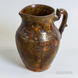 Sgraffito-decorated Glazed Redware Pitcher