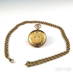 Small Gold-filled American Waltham Hunting Case Pocket Watch with 14kt Gold Watch   Chain
