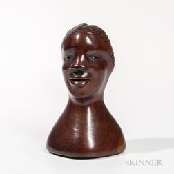 Carved Walnut Head of a Black Man