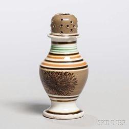 Mocha-decorated Pearlware Pepper Pot