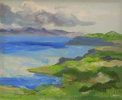 Framed Oil on Masonite, Casitas Lake, Looking East  , by Douglass Ewell Parshall (American, 1899-1990)