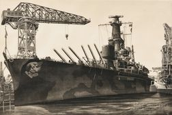 John Taylor Arms (American, 1887-1953) Battle Wagon - U.S.S. Alabama Outfitting at Norfolk Navy Yard, Crane Ship Kearsage Alongside, 19