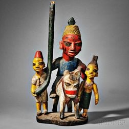 Yoruba Polychrome Carved Wood Shrine Group
