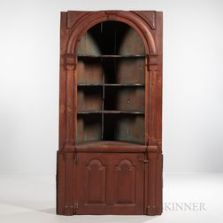 Red-painted Pine Barrel-back Corner Cupboard