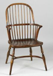 Set of Four English Provincial Elmwood Armchairs