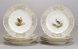 Eight Meissen Porcelain Reticulated Plates