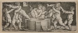 Heinrich Aldegrever (German, 1502-c. 1561)      Eight Nude Children at a Well