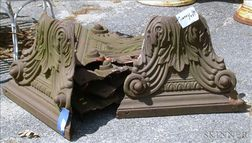 Six Brown Painted Cast Iron Capitals
