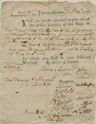 Adams, Samuel (1722-1803) Document Signed, 20 December 1779.