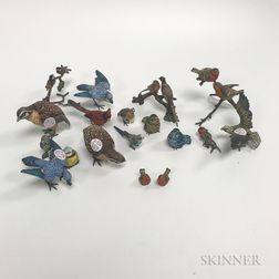 Eighteen Cold-painted Bronze Figures