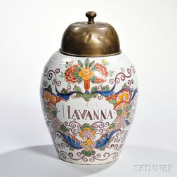 Polychrome-decorated Delft Snuff Jar