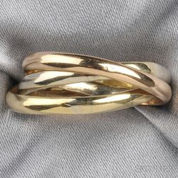 18kt Tricolor Gold Rolling Ring, Cartier