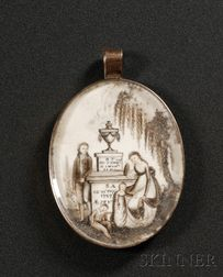 Painted Ivory Mourning Pendant