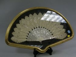 Sequined Carved Ivory Hand Fan